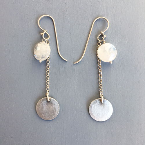 moon products moonstone silver earrings rainbow stone sterling